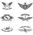 Set of airplane show labels isolated on white vector image