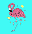 card with hand drawn pink flamingo doodle vector image