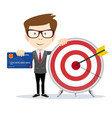 cartoon businessman holding target and plastic vector image