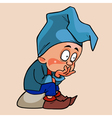 cartoon gnome in a blue cap sitting pensive vector image