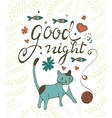 Good night concept card with cute cat flowers vector image