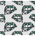 lips with weed joint cigarette seamless pattern vector image