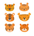 set of cute tigers funny doodle animals little vector image
