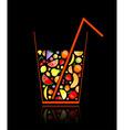 fruit juice glass vector image vector image