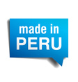 made in Peru blue 3d realistic speech bubble vector image