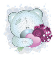 Blue teddy bear with roses vector image
