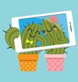 couple of cactus taking selfie vector image