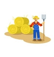 Farmer man standing with pitchfork vector image