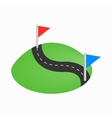 Flag pins on a road icon isometric 3d style vector image