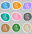 handset icon symbols Multicolored paper stickers vector image