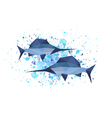 origami sword fish on abstract background vector image