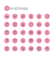 Round Christmas Icons vector image