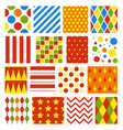 set of seamless carnival circus festive patterns vector image