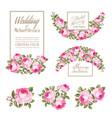 set of wedding invitation card the rose elegant vector image