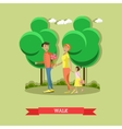 Family in park concept banner People vector image