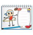 A notebook with a sketch of a young child with a vector image