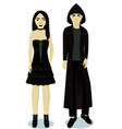 teenagers boy and girl im goth style vector image vector image