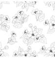 Seamless pattern apple tree flowers contours vector image