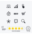 Internet seo icons Online shopping charts vector image