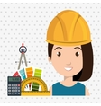 architect woman tools icons vector image