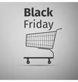 Black friday sale Shopping cart flat icon on grey vector image