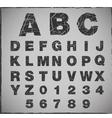 broken alphabet with grunge texture set vector image