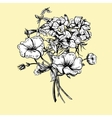 Monochrome Retro Summer Floral Greeting Card vector image