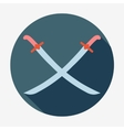Pirate icontwo crossed sabers Flat design vector image