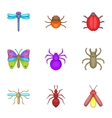 Varieties of insects icons set cartoon style vector image