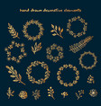 the set of hand drawn decorative elements vector image