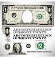 one dollar bill parts with an alphabet vector image vector image