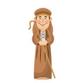 man shepherd christmas character with stick wooden vector image