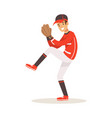 baseball player in a red uniform pitching vector image