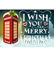 Christmas Greeting Card with English Red Cabin vector image