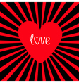 Red heart with sunburst Love card vector image vector image