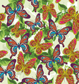 beautiful pattern with butterflies and leaves on a vector image vector image