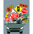 Enraged driver on the road vector image