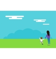 Happy family walks on nature background vector image