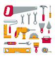 hardware industrial tools kit flat icons vector image