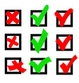 icon sign green a red to vote yes and no in a vector image