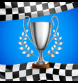 silver winner trophy realistic poster vector image