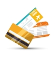 travel credit card ticket plane graphic vector image