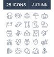 set flat line icons autumn vector image