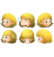 blonde girl expressions vector image