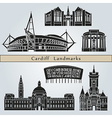 Cardiff landmarks and monuments vector image