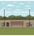 park bench scene vector image