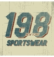 Vintage trademark with numeral 198 vector image