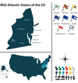Map of Mid Atlantic states of the United States vector image