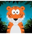 Cute cartoon tiger in front of jungle background vector image