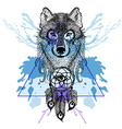 Dotwork tatoo stylized Wolf face with dreamcatcher vector image